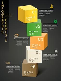 Kolorowy nowoczesny szablon infografiki z elementami kostki