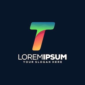 Kolorowy nowoczesny szablon logo litery t