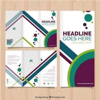 Kolorowy nowoczesny trójwymiarowy szablon broszury