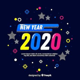 Kolorowy nowy rok 2020 w płaskiej konstrukcji