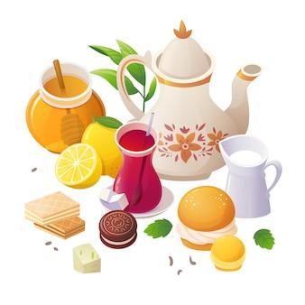 Kolorowy obrazek z herbatą i dodatkami