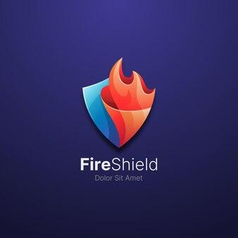 Kolorowy ogień z szablonem logo tarczy
