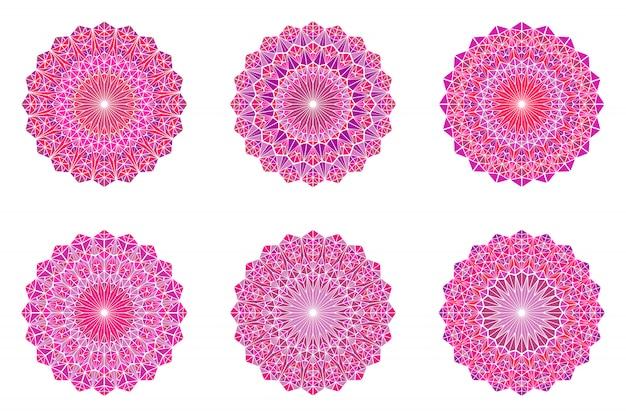 Kolorowy okrągły ozdobny kwiecisty trójkąt mozaika mandali zestaw