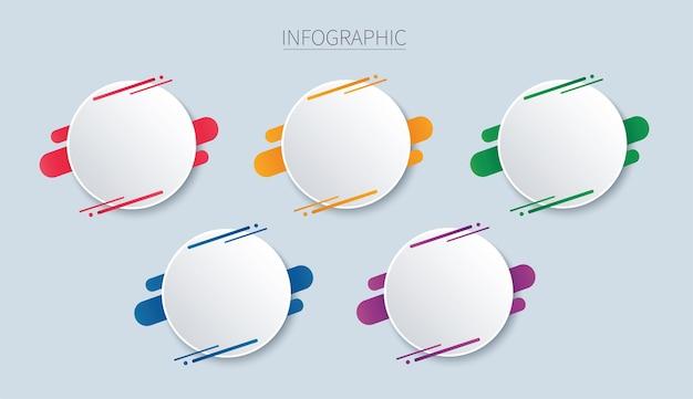 Kolorowy okrągły szablon infografiki z 5 opcjami