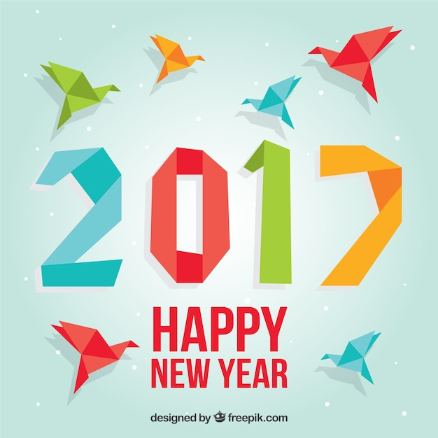 Kolorowy origami nowy rok tła
