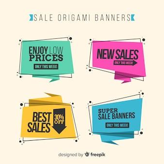 Kolorowy origami stylu sprzedaży sztandaru set