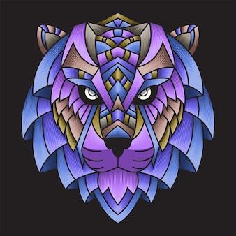 Kolorowy ornament doodle tygrys ilustracja