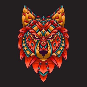 Kolorowy ornament doodle wilk ilustracja