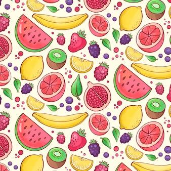 Kolorowy owocowy deseniowy tło