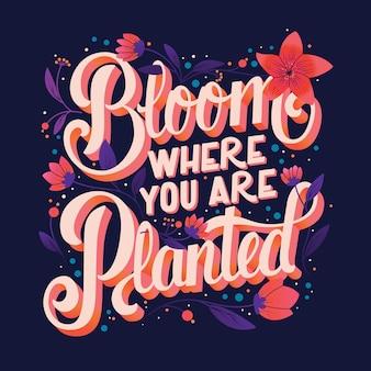 Kolorowy ozdobny odręczny wzór typografii z kwiatami i dekoracją. projekt ilustracji napis ręka wiosna.
