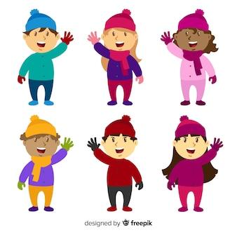 Kolorowy pakiet dla dzieci zimowych