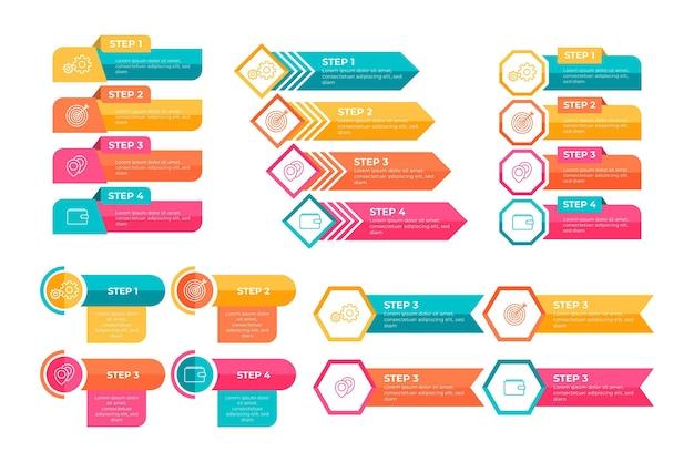 Kolorowy pakiet elementów infografiki