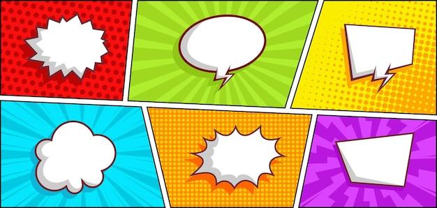 Kolorowy panel komiksowy z pustym dymkiem z mową