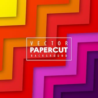 Kolorowy papier cięty styl zygzakowaty tło wektor