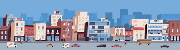 Kolorowy pejzaż miejski z elewacjami budynków, transportem po drodze i ludźmi spacerującymi po ulicy. miejska panorama