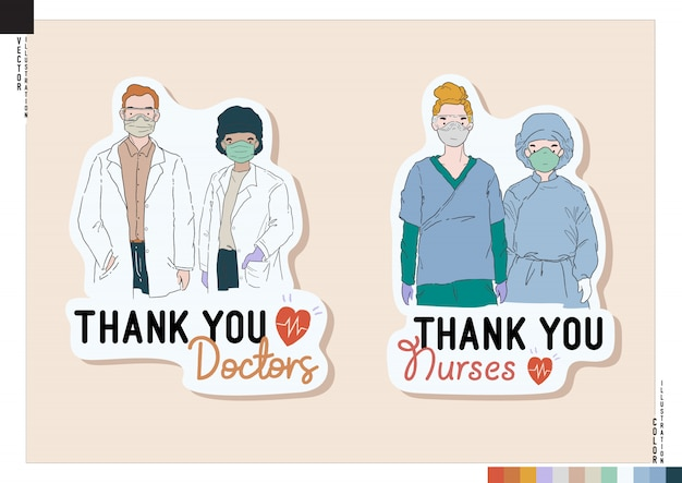 Kolorowy personel medyczny covid-19. dziękuję naklejki lekarzy i pielęgniarek. ilustracja w stylu kreskówek do druku, stron internetowych, albumu online, pamiętnika itp.