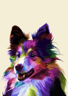 Kolorowy pies sheltie na białym tle w geometrycznym stylu pop-art