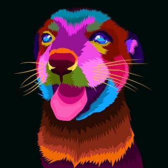 Kolorowy pies sztuka wektor