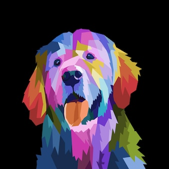 Kolorowy pies weimarski na ilustracji wektorowych w stylu pop-art