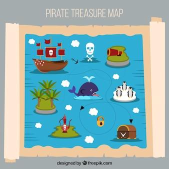 Kolorowy piracki skarb mapę