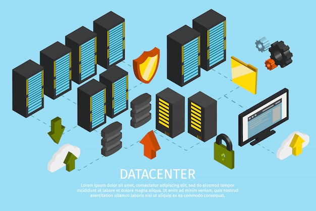 Kolorowy plakat centrum danych