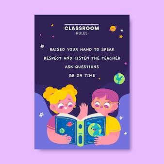 Kolorowy plakat edukacyjny zasady nowoczesnej sali lekcyjnej
