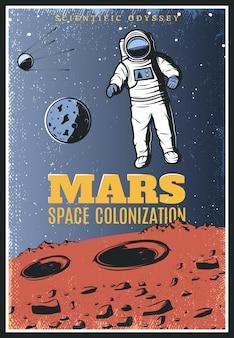 Kolorowy plakat eksploracji marsa w stylu vintage
