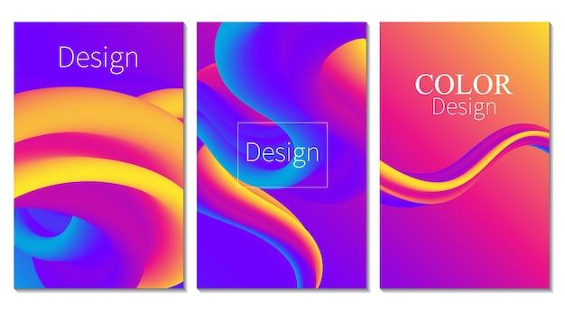 Kolorowy plakat. fala. zestaw okładek. płynne tło. przepływ cieczy. streszczenie kolor tła. elektroniczny dźwięk. płynny streszczenie. liquid wave. kolor 3d. pływ . plakat muzyczny. projekt 3d fal. .