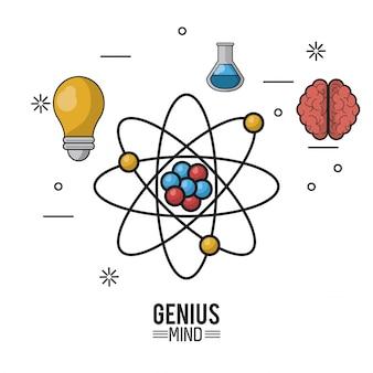 Kolorowy plakat geniuszu umysłu z atomem