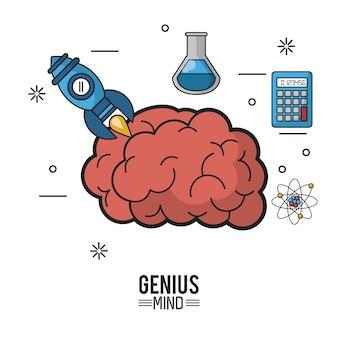 Kolorowy plakat geniuszu umysłu z mózgu i ikony