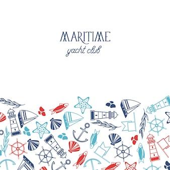 Kolorowy plakat klubu jachtowego podzielony na dwie części