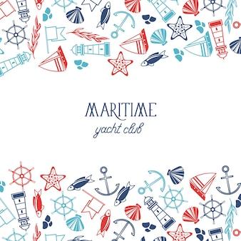 Kolorowy plakat klubu jachtowego podzielony na trzy części, z których górna i dolna składają się z wielu elementów marynistycznych