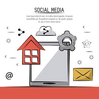 Kolorowy plakat mediów społecznych z urządzenia typu tablet