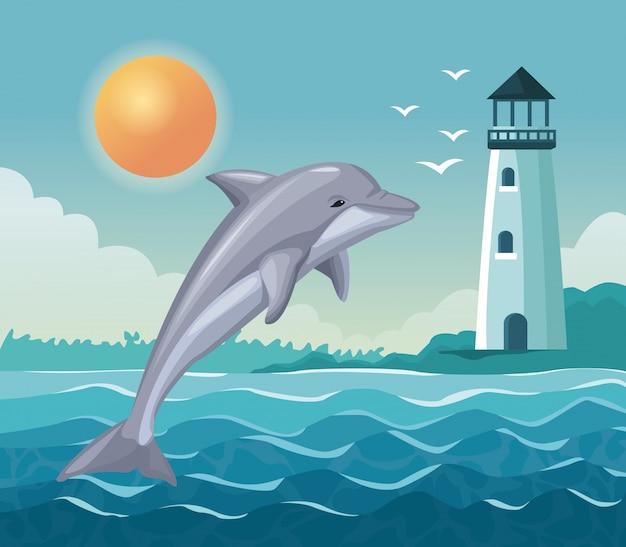 Kolorowy plakat nadmorski z delfinem skok i latarnia morska w wybrzeżu