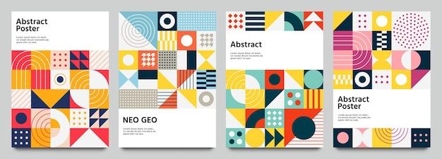 Kolorowy plakat neo geo. nowoczesna ulotka z siatką z geometrycznymi kształtami, grafiką geometryczną i abstrakcją