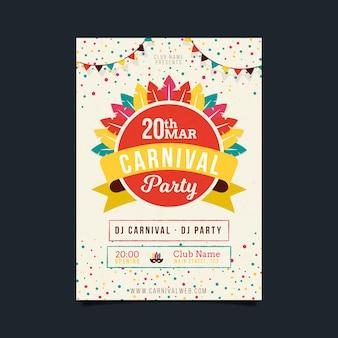 Kolorowy plakat party karnawałowe