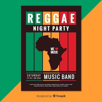 Kolorowy plakat party reggae z płaska konstrukcja