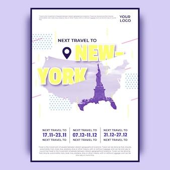 Kolorowy plakat podróż w nowym jorku