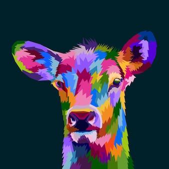 Kolorowy plakat premium z portretem jelenia w stylu pop-art