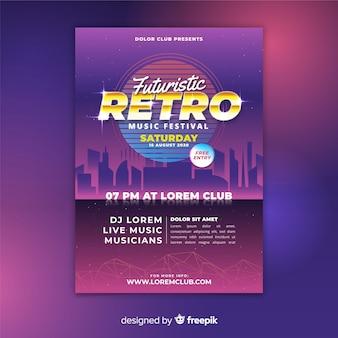 Kolorowy plakat retro futurystyczny muzyka szablon