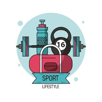 Kolorowy plakat sportowego stylu życia w podnoszeniu ciężarów