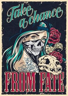 Kolorowy plakat tatuaż chicano