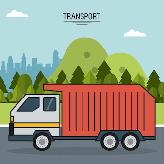 Kolorowy plakat transportu z śmieciarka na drodze