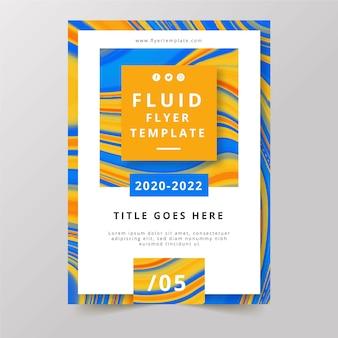 Kolorowy plakat ulotki pomarańczowy i niebieski płyn