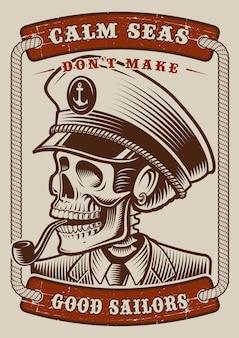 Kolorowy plakat vintage z motywem morskim z czaszką kapitana na białym tle