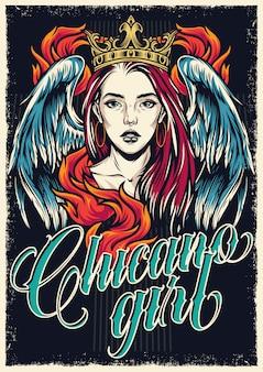 Kolorowy plakat w stylu tatuażu chicano