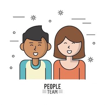 Kolorowy plakat zespołu ludzi z pół ciała para
