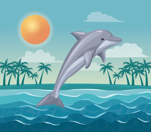 Kolorowy plakatowy niebo krajobraz drzewka palmowe na plaży i delfin wskakujemy w fala wektoru ilustraci