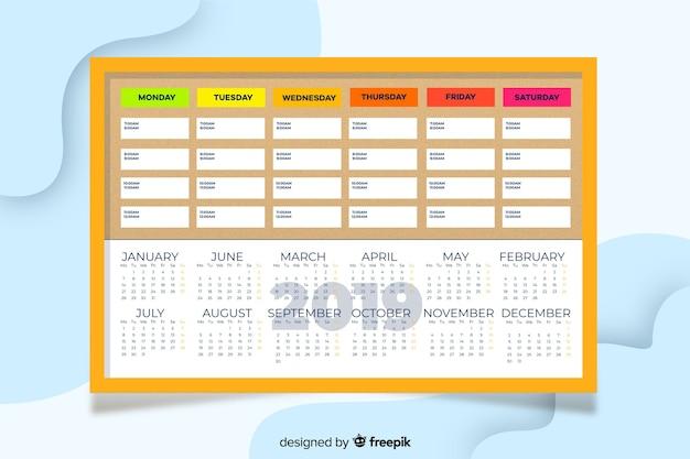 Kolorowy plan lekcji płaski szablon