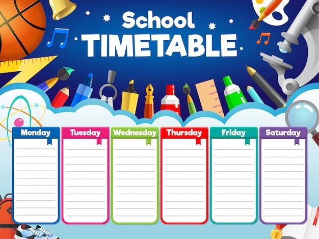 Kolorowy plan zajęć w szkole, tygodniowy harmonogram z zaopatrzeniem i przedmiotami dla studentów